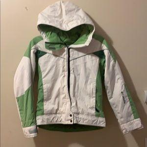 Girls 10/12 green & cream Ski Coat by Columbia